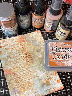 Distress Ink Techniques, Embossing Techniques, Paint Techniques, Nest Design, Media Design, Tim Holtz Distress Ink, Embossed Paper, Distress Oxide Ink, Metallic Paper