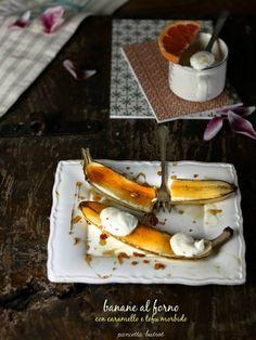 banane al forno con caramello e tofu morbido
