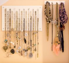 necklace_hanger_display_diy Blog page had all her homemade ideas for keeping jewelry sorted. Need to try AL of them.