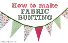 Tutorial on how to make holiday fabric bunting for the mantle.