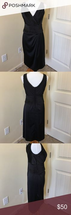"EUC Tadoshi Evening Dress Black, Size 8 EUC Tadoshi Evening Dress Black, Size 8.  Worn only once.  Gorgeous Dress!!!  Measures approximately 42"" from shoulder to hem and waist is approximately 30"".  Dry Clean Only Tadashi Shoji Dresses Midi"