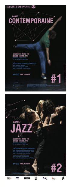 #1 : Spectacle de danse contemporaine et #2 Spectacle de danse jazz Photos : ©Virginie Kahn - Graphisme : Sujet-Objet