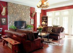 Red Color Living Room Decorating Ideas