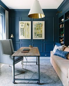 Blue paint color is Blue Note by Benjamin Moore.  Kate Marker Interiors.