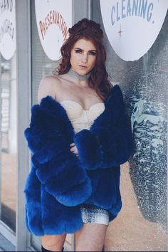 Queen Devin Faux Fur (more colors) Queen Devin Faux Fur (more colors) Order one size up, please allow weeks for processing and shipping! * Faux Fur, Cotton, Polyester * Dry Clean Only * Model is Wearing Size XL - Blue Fur Coat, Fox Fur Coat, Blue Coats, Chic Fall Fashion, Fur Fashion, Fur Clothing, Pink Faux Fur, Pink Plastic, Cute Jackets