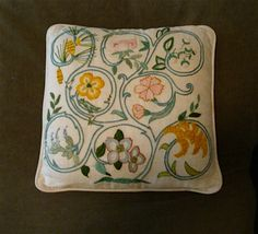 Crewel Embroidery Pillow on Natural Linen, Handmade with lots of Flowers
