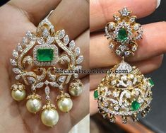 22 carat gold dual peacock classic diamond pendant with square shaped large emerald in the center and surrounded by curved diamonds and brilliant cut diamonds, suitable diamond jhumkas Pearl And Diamond Necklace, Diamond Jewelry, Gold Jewellery, Latest Jewellery, Luxury Jewelry, Bridal Jewelry, Jewelry Gifts, Jewelery, India Jewelry