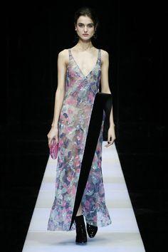A look from the #GiorgioArmani fashion show.