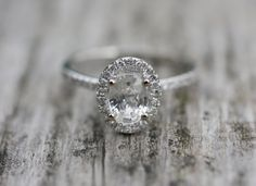 0.87ct Oval White sapphire and white gold ring by EidelPrecious