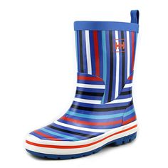 "Helly Hansen JK Midsund Graphic Youth US 13 Blue Rain Boot. The style name is JK Midsund Graphic. The style number is 11150-535. Brand Color: Racer Blue/Off White/Navy/Cloudberry/Aqua Marine (Main Color: Blue). Material: Synthetic. Measurements: Shaft measures 7"", Circumference measures 11"" and 1.5"" heel. Width: M (Y)."