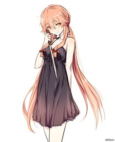 Anime picture with mirai nikki gasai yuno mery long hair single tall image red eyes smile simple background twintails white bare shoulders pink hair looking away girl dress black dress knife Manga Girl, Manga Anime, Fanart Manga, Girls Anime, Anime Art, Yandere Anime, Corpse Party, I Love Anime, Awesome Anime