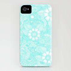Henna Design - Aqua iPhone Case,  Go To www.likegossip.com to get more Gossip News!