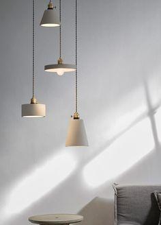 Concrete Vasa Minimalist Pendant Light - Tudo&Co – Tudo And Co Living Room Lighting, Kitchen Lighting, Home Lighting, Lighting Design, Pendant Lighting, Lighting Ideas, Pendant Lamp, New York Loft, Interior Minimalista