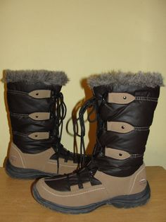 Totes 2-tone Brown Puffy Shaft Lace Up Zip Winter Boots Warm Lining Womens Sz 8 #totes #SnowWinterBoots #Casual