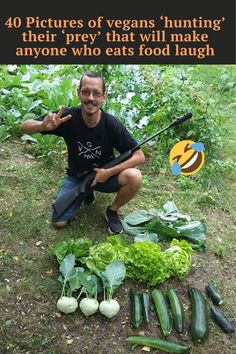 These vegans decided to parody their carnivorous counterparts, creating funny, hunter-style photos, but instead of posing next to dead creatures they shot and killed, they're smiling happily beside fresh fruit and leafy veggies they 'hunted' in their own gardens, backyards, and local forests or fields. #vegans #vegan #laugh #vegans'hunting' #eatsfoodlaugh #hunters