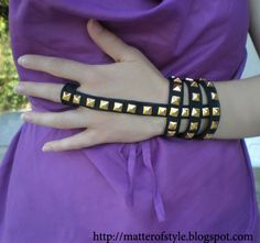 DIY Studded statement jewelry - not sure i would do studs - but the basic design would easily transfer into other materials....