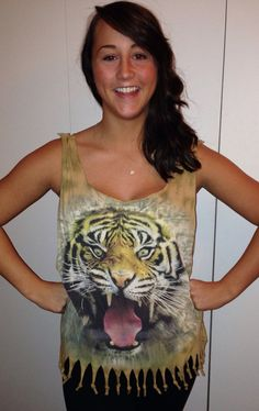 Tiger roaring fringe tank top shirt plus size 1X/XL extra large on Etsy, $18.00