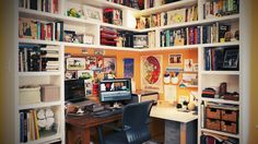 An office area like this could make both me and my husband happy.  Seems like a good compromise.