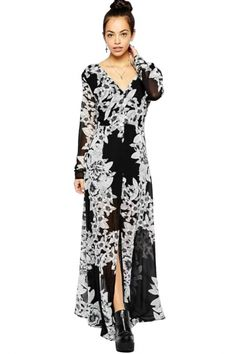 Casual Solid Black Floral Medi Dress with V NeckOASAP Giveaway, 10 pieces per day, till the end of 2014! Easiest way to get free clothing!