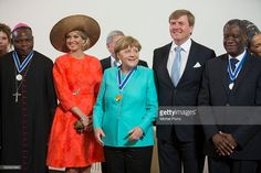 Dieudonne Nzapalainga, Queen Maxima of The Netherlands, German Chancellor Angela Merkel, King Willem-Alexander of The Netherlands and Denis Mukwege pose for a group photo after the Four Freedoms Awards ceremony on April 21, 2016 in Middelburg, Netherlands.