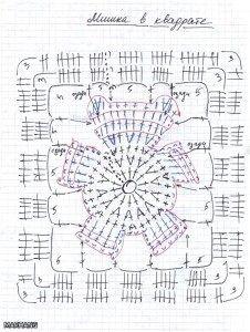 teddy bear granny square chart