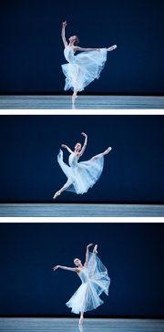 "Pennsylvania Ballet's 'A Program of Firsts,' a Tricky Triple Bill - Oksana Maslova, soloist, in Balanchine's ""Serenade"" in Philadelphia."