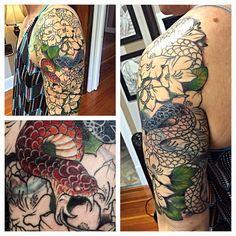 Progress on this coverup half sleeve #tat #tattoos #tattooed #tattooart #tattoolove #tattoodesign #tattooartists #tattooedwomen #ladytattoers #lynntattoos #mutinypdx #pdx #pdxart #portland #pdxtattoos #portlandart #pdxtattooers #portlandtattoos #portlandtattooers #snakes #snaketattoos #flowers #flowertattoos