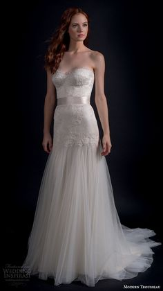 modern trousseau fall 2016 bridal gowns beautiful modified a  line wedding dress strapless busiter bodice tulle skirt style maven