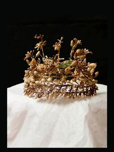 Antique Bridal Tiara / Crown, French, 1880s, Wax Floral Blossoms Wedding Crown, Honeysuckle, Orange Blossom. Exquisite Wedding Adornment.      From mistyalbion