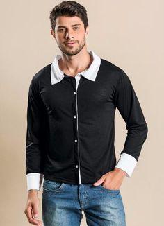 Na Loja Virtual América Tático Avnetura você encontra a Camisa Masculina Manga Longa SELF ML Gola e Punhos Brancos - Malha Flamê Modelo Masuculina - Manga Longa. Confeccionado em 100% poliéster flamê. Modelo com botões punhos, gola e peitilho brancos. Peça