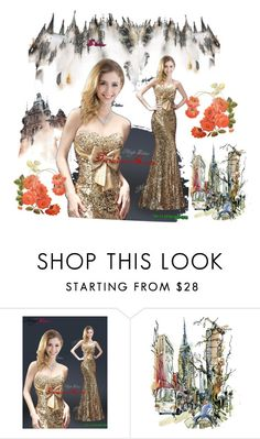 """Gold sequin dresses"" by fashionor ❤ liked on Polyvore featuring Prom, gold, Sequin and bowknot"