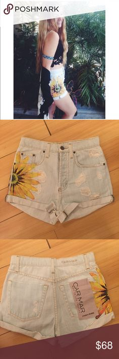 NWT LF Sunflower High Rise Denim Shorts Brand new! The price tag fell off on the inside, but the big tag on the outside pocket is still attached. Size 24, but runs really big. Best fit size 26-27 in my opinion. By Carmar, bought from LF. Originally over $100! LF Shorts Jean Shorts