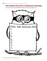 Halloween Safety Owl - Remind kids how to stay safe; review Halloween safety tips.