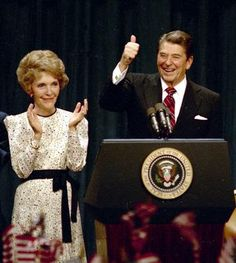 1984 -- Ronald Reagan -- President Ronald Reagan gives a thumbs-up to supporters at the Century Plaza Hotel in Los Angeles as he celebrates his re-election, Nov. with first lady Nancy Reagan at his side. American Presidents, Us Presidents, President Ronald Reagan, 40th President, Nancy Reagan, Presidential History, Today In History, Pinterest Popular, Teenage Years