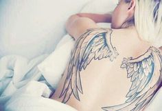 Angel tattoos are very beautiful arts that can be engraved on your body. Aside from being gorgeous tattoos, these tattoos are also very meaningful. Angle Wing Tattoos, Angle Tattoo, Wing Tattoos On Back, Leg Tattoos Women, Tattoos For Women Half Sleeve, Sleeve Tattoos, Tattoos For Guys, Sister Tattoos, Angel Wings Tattoo On Back