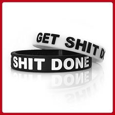 """Inspirational Rubber Band Bracelets Silicone Wristbands Custom Embossed With Motivational Saying """"GET SHIT DONE"""". Perfect for Fitness, Basketball, CrossFit, Sports & Completing Tasks with Style. - Fun stuff and gift ideas (*Amazon Partner-Link)"""