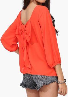 Orange Plain Bow Long Sleeve Chiffon Blouse Orange Blouse, Orange Tees, Orange Shirt, Chiffon Blouses, Chiffon Tops, Shirt Blouses, Bow Shirts, Chiffon Shirt, Red Chiffon