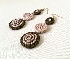 Crochet earrings, circular earrings, dangle earrings, cotton earrings,brown, light pink, for her