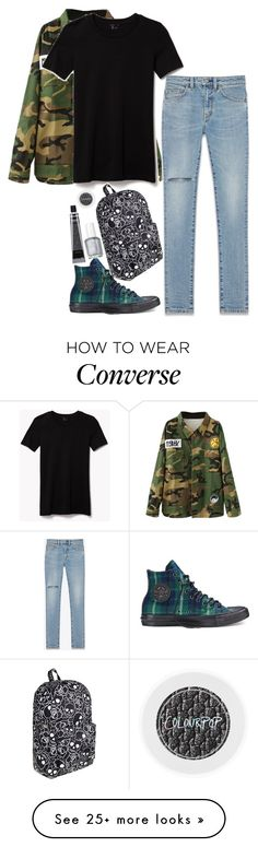 """""""Untitled #728"""" by zoey-likes-muffins on Polyvore featuring Theory, Yves Saint Laurent, Converse, Loungefly, Essie and Grown Alchemist"""