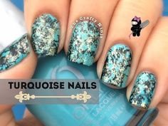 Turquoise Water Spotted Nails by The Crafty Ninja - YouTube