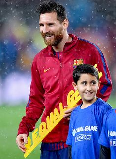 """""""Lionel Messi of Barcelona poses with the #equalgame banner prior to the UEFA Champions League group D match between FC Barcelona and Olympiakos Piraeus at Camp Nou on October 18, 2017 in Barcelona,..."""