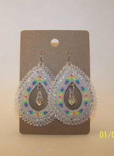 Native American Beaded Teadrop Earrings by CJBeadwork on Etsy, $35.00