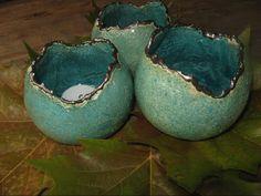 keramiek waxine houders ( wit bakkende klei ,geglazuurd )