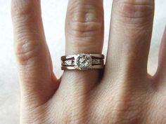 Half Carat Diamond Art Deco Three Band Engagement Ring 14K White Gold. $2,600.00, via Etsy.