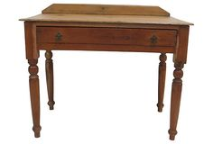 19th-C.  Single Drawer Pine Table on OneKingsLane.com. Consider in entry with basket below for shoes.