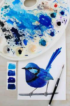 Splendid Fairy Wren | Painting by PRINTSPIRING | Paintbrush, palette, bird painting flatlay | Art work in progress | www.instagram.com/printspiring