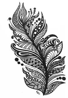 Doodles zentangles, zentangle patterns, mandala design, mandala art, easy c Zentangle Drawings, Mandala Drawing, Zentangle Patterns, Mandala Art, Mandala Tattoo, Art Drawings, Doodles Zentangles, Feather Drawing, Feather Art