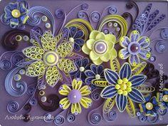 Картина панно рисунок Квиллинг Сиреневые завиточки Бумажные полосы фото 1