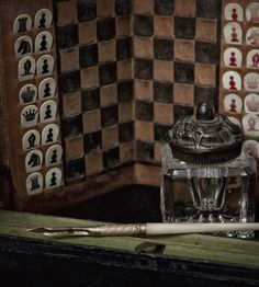 Travel chess set, ink well and antique ink pen