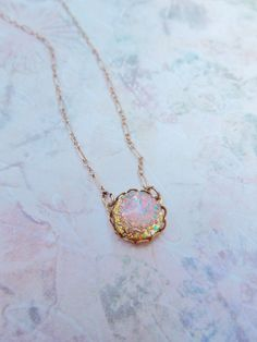 Vintage Glass Fire Opal Necklace - 14K Gold Filled - Vintage Glass Opal, Colorful, Birthstone Jewlery, Shabby Chic